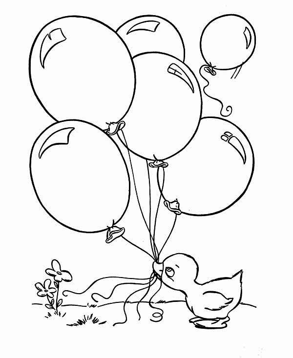 Duckling Hold a Lot of Balloon with Her Mouth Coloring Page ...