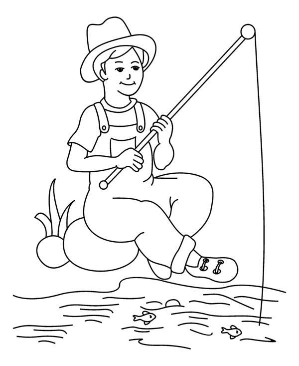 A Fisherman Boy Coloring Page