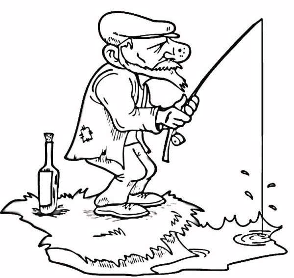 An Old Fisherman Fishing Coloring Page