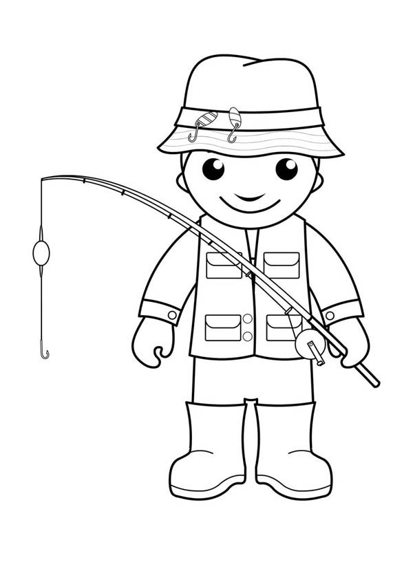 Little Fisherman Coloring Page
