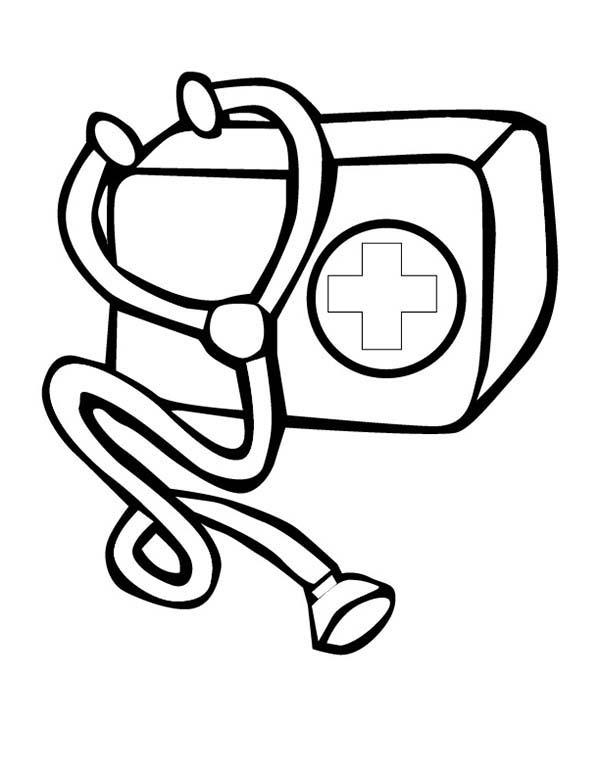 Doctor Medical Bag Kit Coloring Page: Doctor Medical Bag Kit ...
