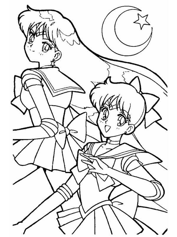 Sailor Moon and Sailor Mars in Sailor Moon Anime Coloring Page ...