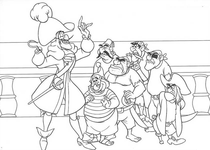 captain hook make a plan to catch peter pan coloring page coloring sky