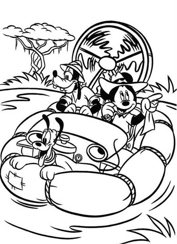 Mickey Mouse Safari on the River Coloring Page: Mickey Mouse Safari ...