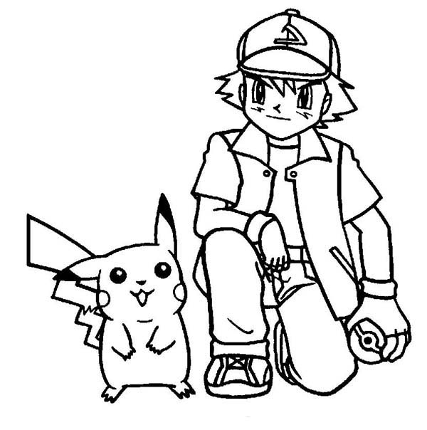 Download print it picture of adorable pikachu and ash ketchum on pokemon coloring page