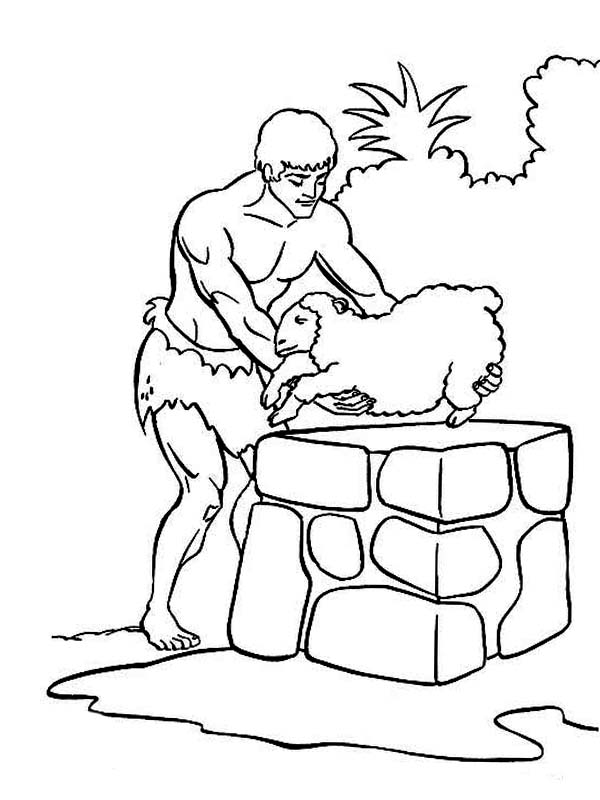 Abel Sacrifice Sheep in Abel and Cain Coloring Page | Coloring Sky