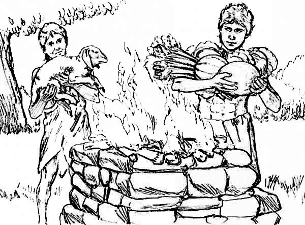 abel cain abel and cain put their sacrifice into the fire coloring page