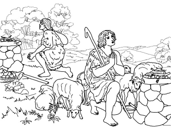abel cain abel and cain sacrifice to god coloring page