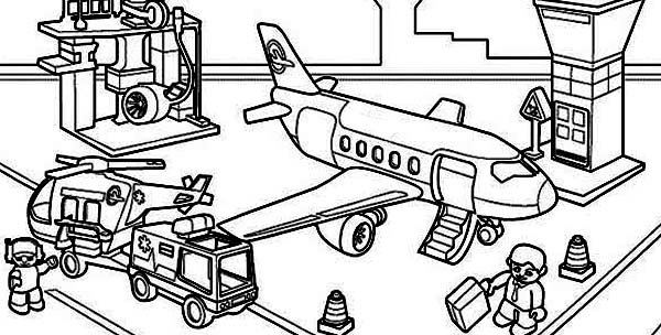 airport maps coloring pages | All Airport Activity in One Picture Coloring Page ...