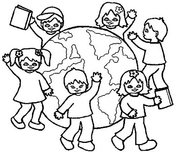 All Kids Around the World Coloring Page Coloring Sky