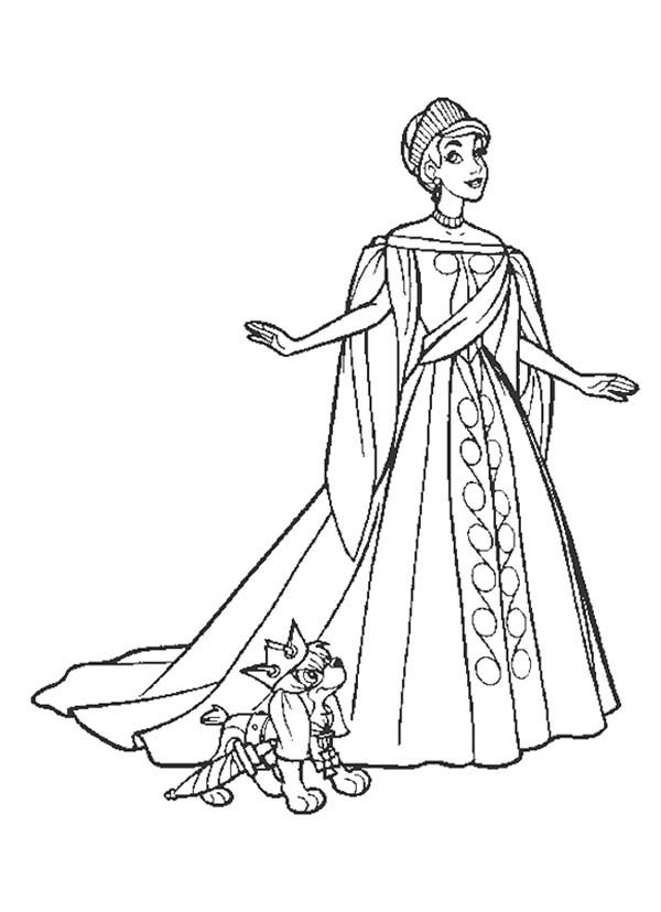 beautiful dress coloring pages - anastasia and pooka wearing beautiful royal dress coloring