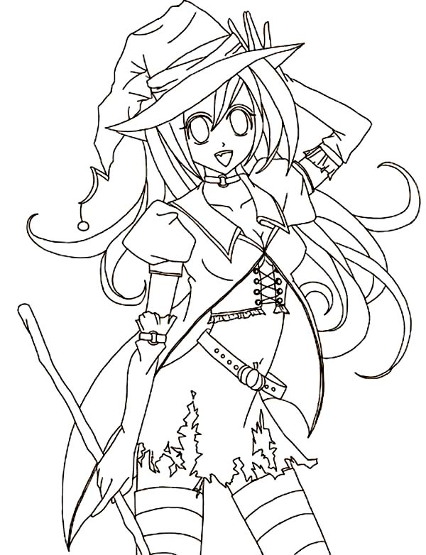 Anime Halloween Coloring Page | Coloring Sky