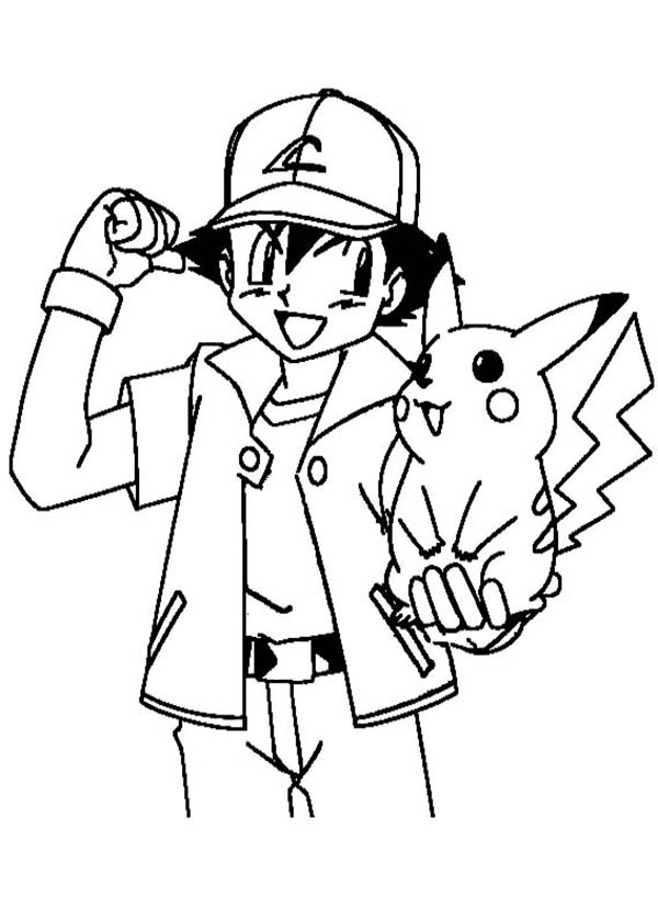 Ash ketchum encouraging pikachu to be stronger on pokemon for Ash and pikachu coloring pages