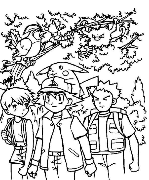 Ash ketchum and friends on pokemon coloring page and on sky