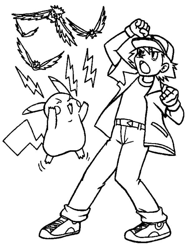 Ash ketchum and pikachu attack with electricity on pokemon coloring page