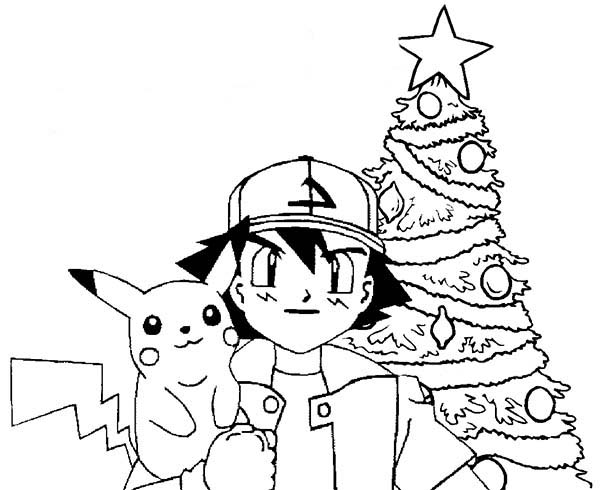 Ash Ketchum And Pikachu Take A Picture In Front Of Christas Tree On