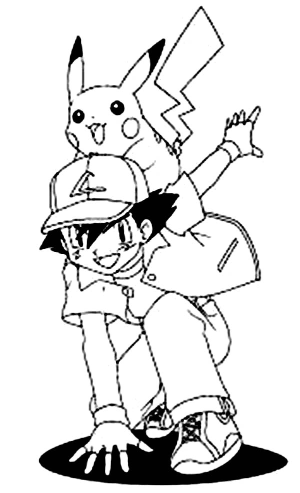 Ash ketchum and pikachu is ready for another adventure on pokemon coloring page