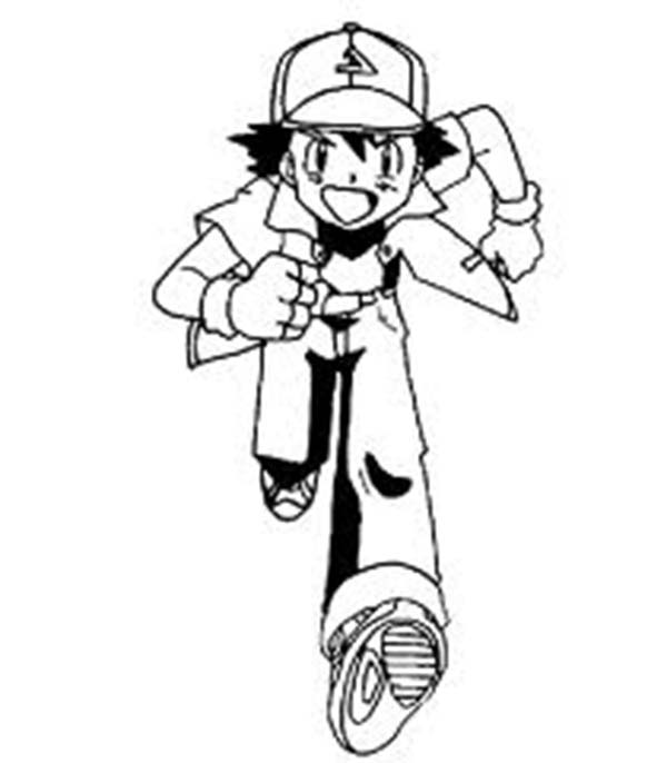 ash ketchum is running on pokemon coloring page