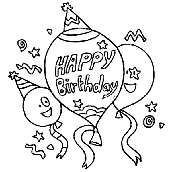 Balloon For Birthday Party Coloring Page Sky