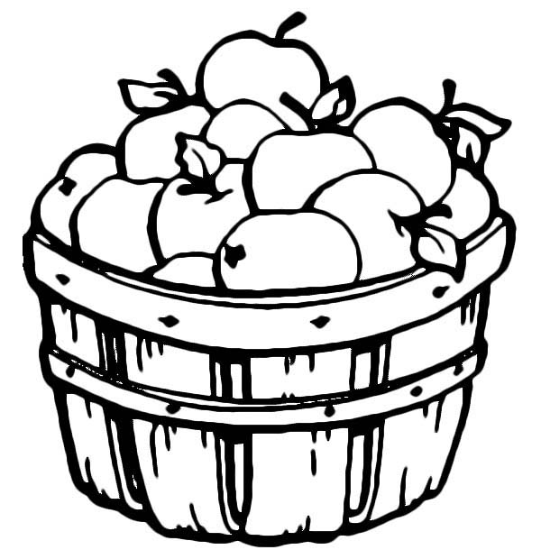 apple barrel full of apple coloring page - Apples Coloring Pages
