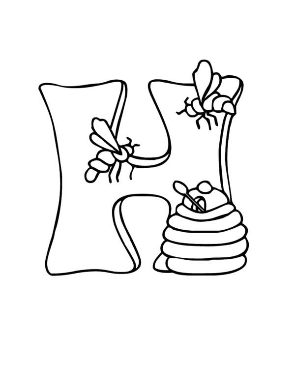 Big H Letter for Honey Coloring Page | Coloring Sky