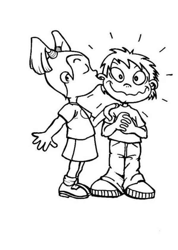 Big Kiss For You On Friendship Day Coloring Page