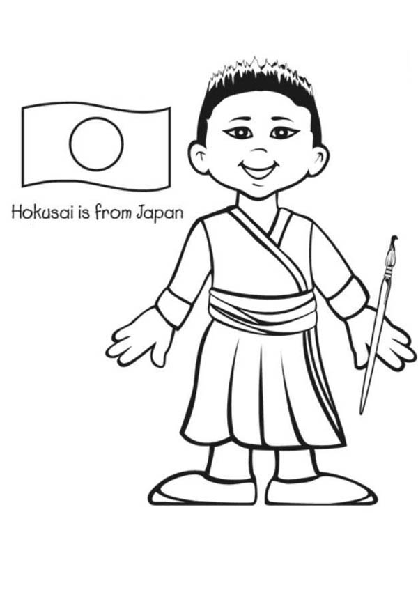 boy from japan coloring page