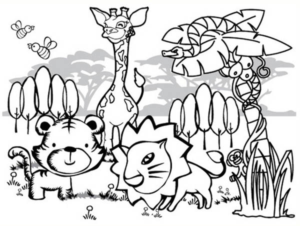 Cartoon Of Forest Animals Coloring Page Coloring Sky