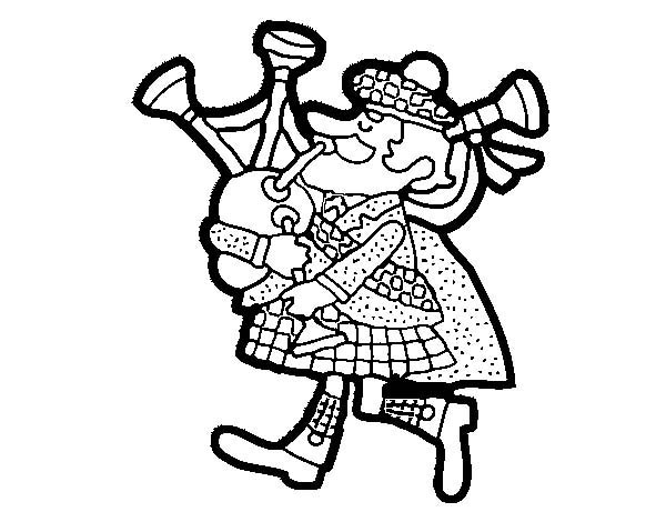 Cartoon of Scottish Bagpipes Coloring Page: Cartoon of Scottish ...