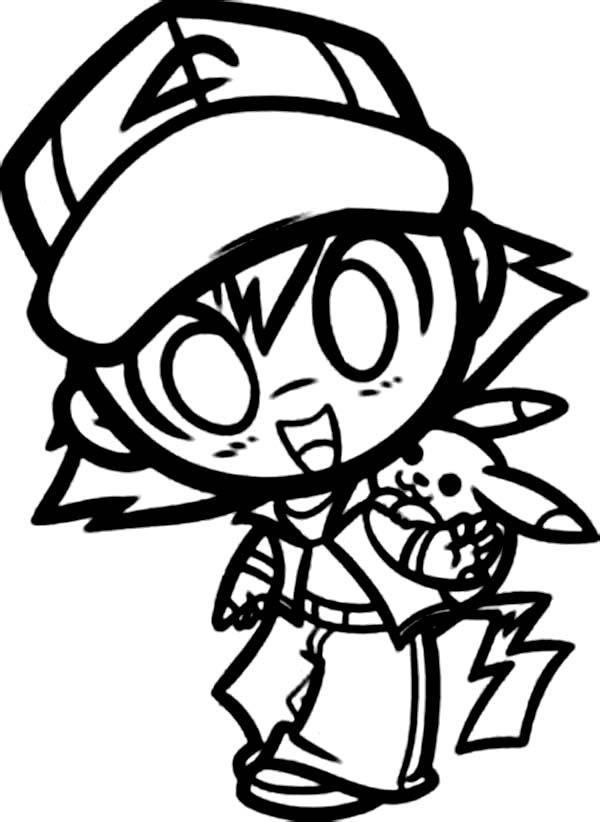 ash ketchum coloring pages - chibi ash ketchum and pikachu on pokemon coloring page