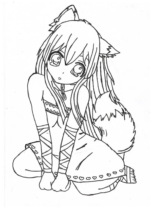 chibi fox girl anime coloring page - Girl Anime Coloring Pages