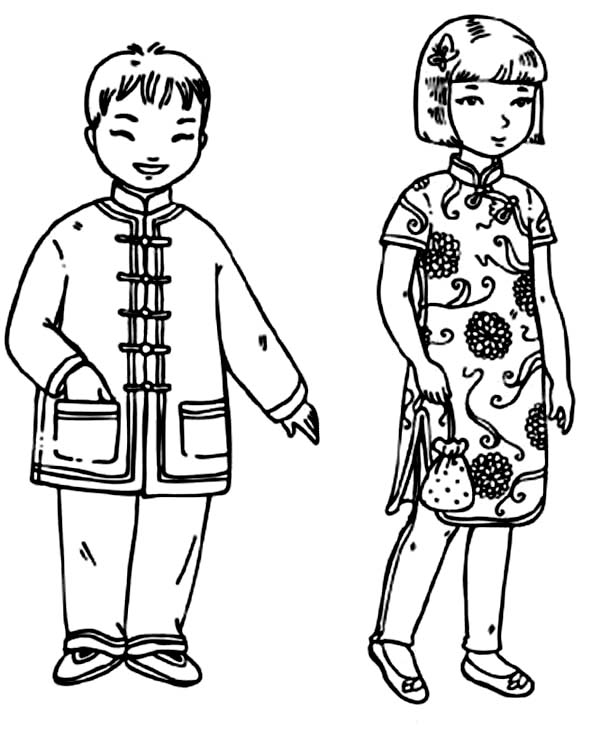 Chinese Kids from Kids Around the World Coloring Page ...