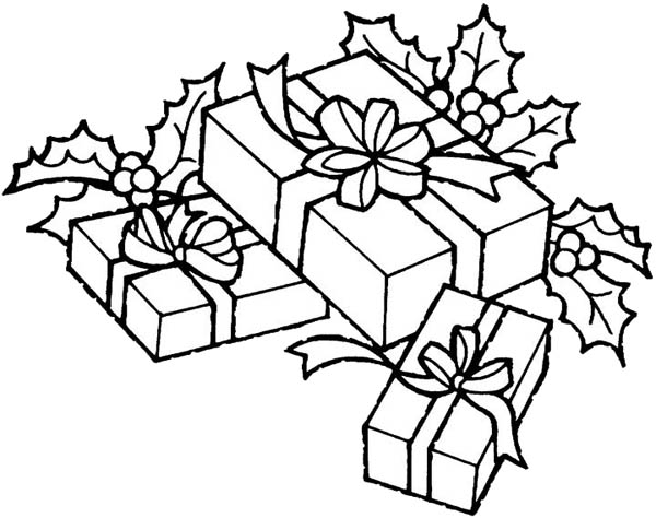 Christmas Theme Gifts Coloring Page Coloring Sky