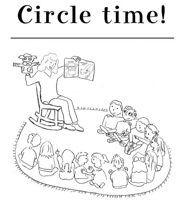Circle Time for Kindergarten Kids Coloring Page | Coloring Sky