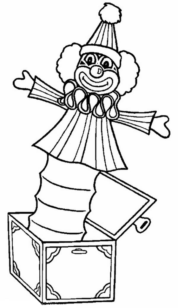 clown jack in the box coloring page