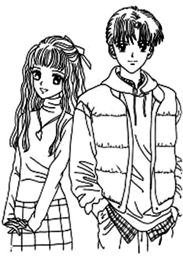 anime couples coloring pages | Anime Couple Sleeping Coloring Coloring Pages