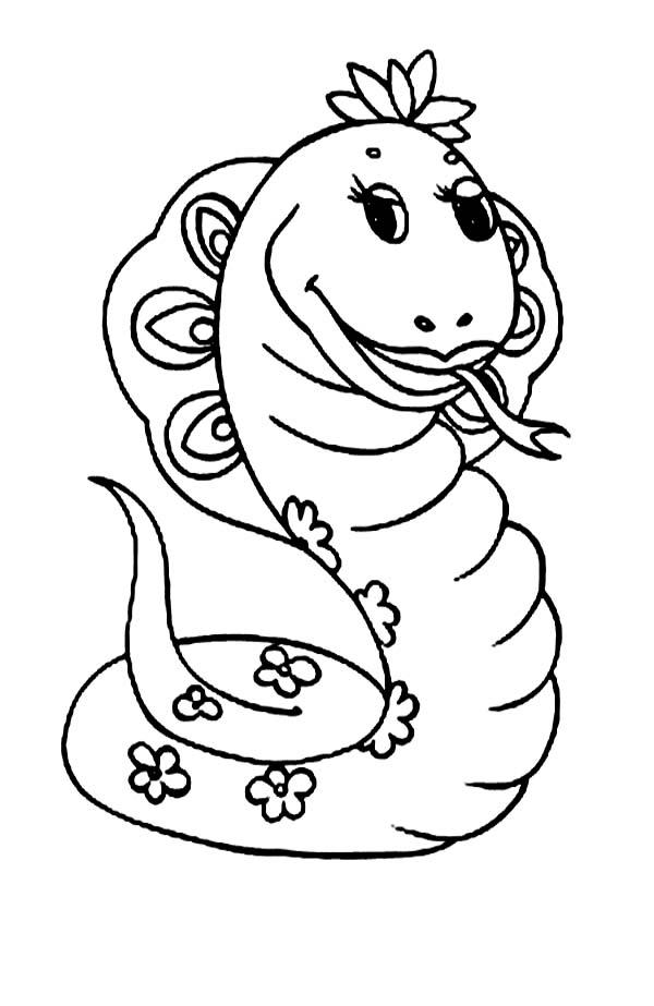 Cute Cartoonof Female Anaconda Coloring Page: Cute Cartoonof Female ...