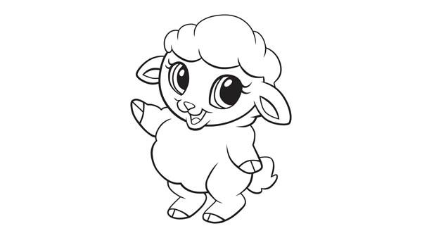 cute lamb say hallo coloring page cute lamb say hallo