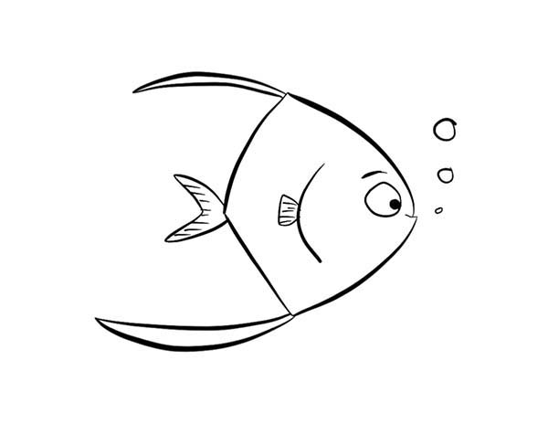 Cute Little Angel Fish Coloring Page