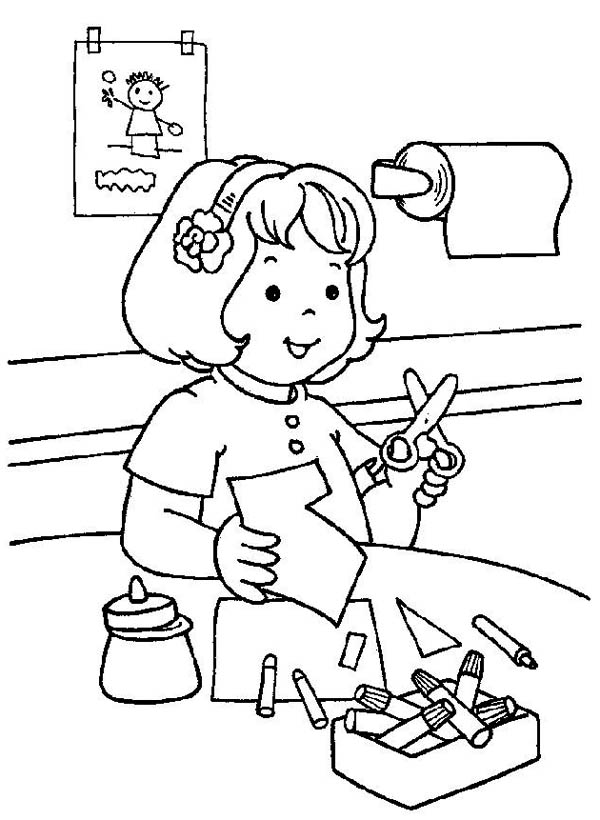 cutting paper in the kindergarten coloring page - Kindergarten Coloring