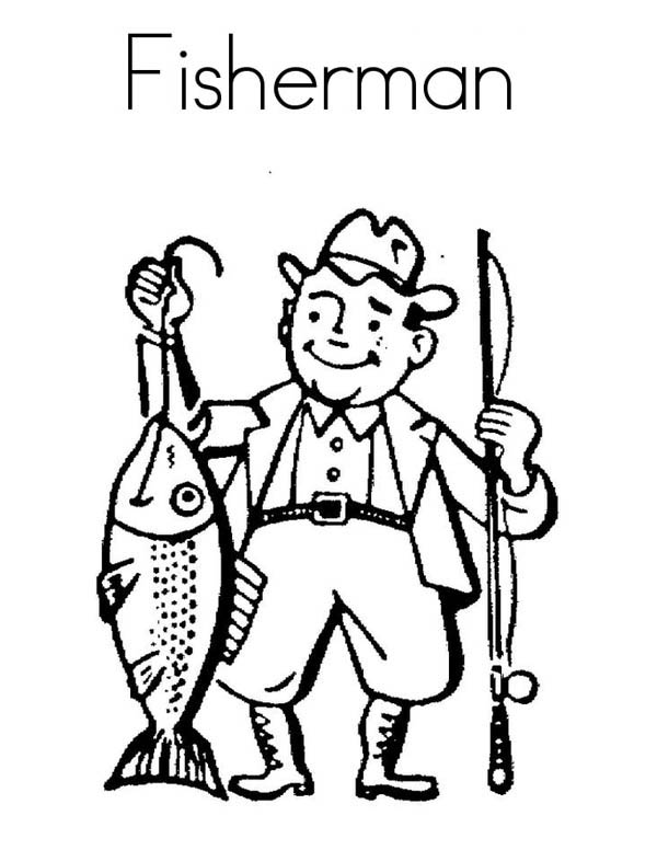 F Is For Fisherman Coloring Page