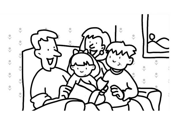 family gather in living room coloring page