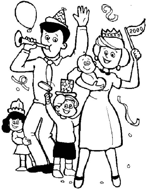 Family Held a Party Coloring Page | Coloring Sky