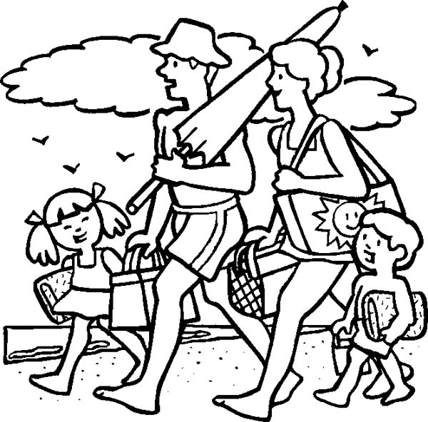 family trip to beach coloring page coloring sky