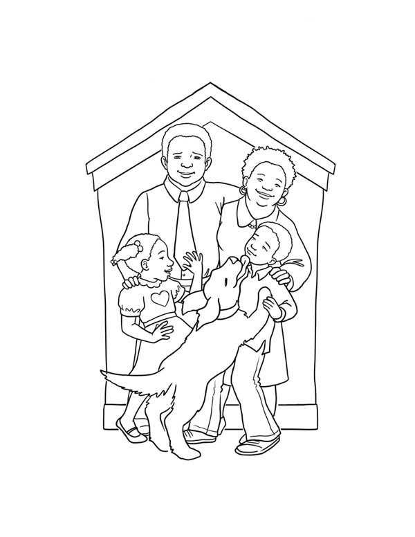Family and Thier Pet Dog Coloring Page | Coloring Sky