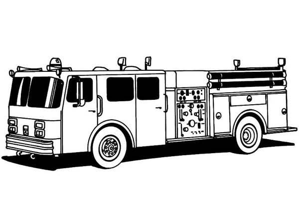 fire truck standard for fire fighting coloring page