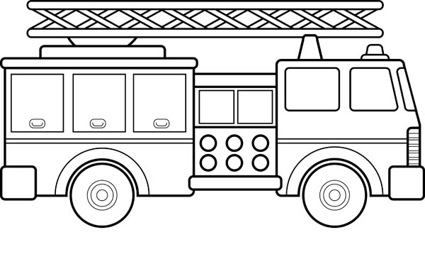 fire truck and ladder coloring page coloring sky