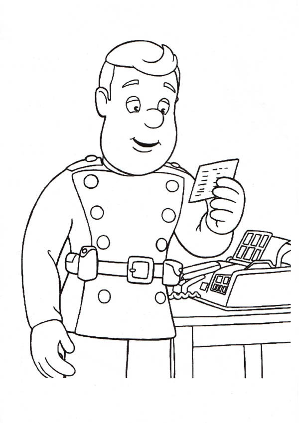 Latest Update On The Lilac Fire >> Fireman Sam Accept Report About Fire Location Coloring Page | Coloring Sky