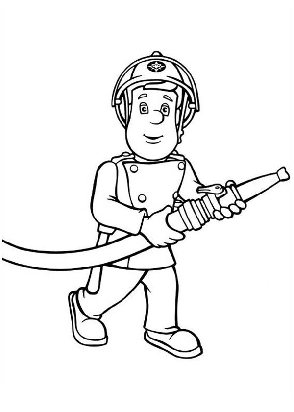 Fireman Sam Bring Hose Coloring Page Coloring Sky