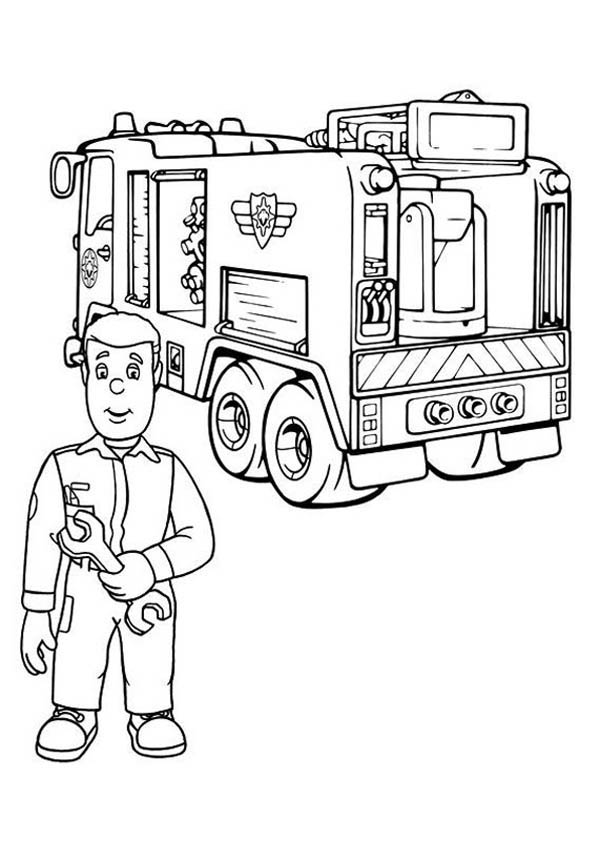 Fire engine coloring pages with eyes fire free engine for Coloring pages fireman sam